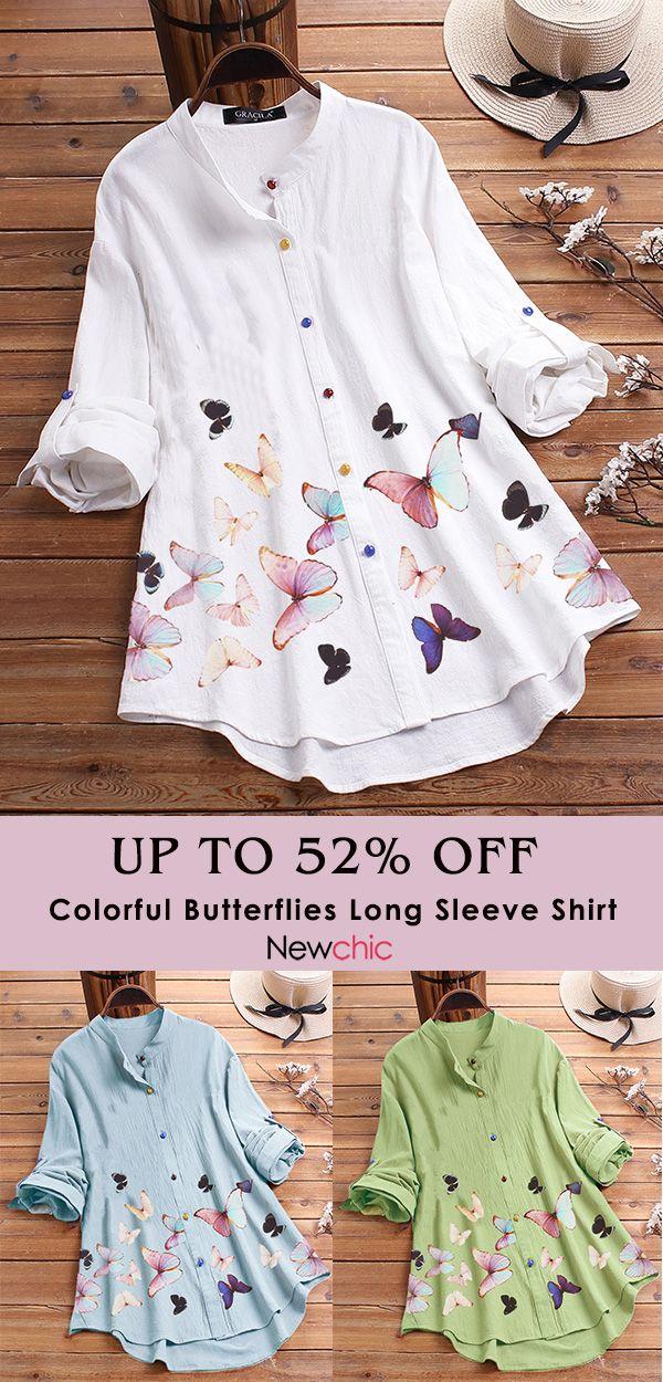 Colorful Butterflies Print Long Sleeve Shirt