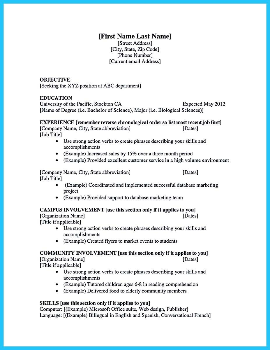 Resume Examples For Students First Job
