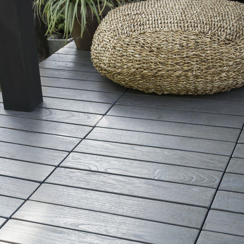 Dalles De Bois Pour Jardin dalle clipsable bois, gris décapé, l.40 x l.40 cm x ep.45 mm