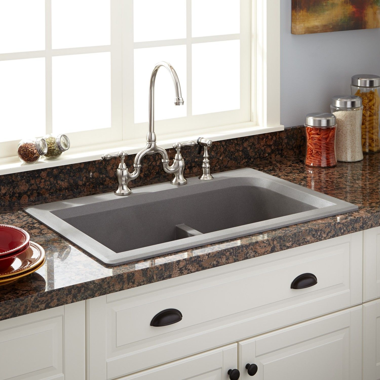 33 fayette doublebowl dropin granite composite sink