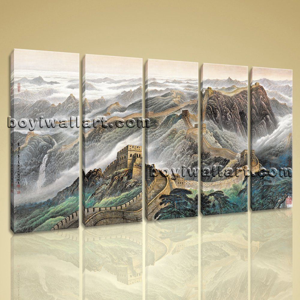 Large great wall of china landscape abstract art print dining five