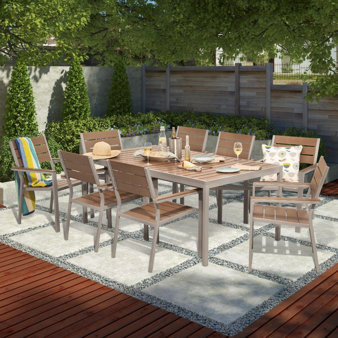 Threshold Bryant 9-piece Faux Wood Patio Dining Set