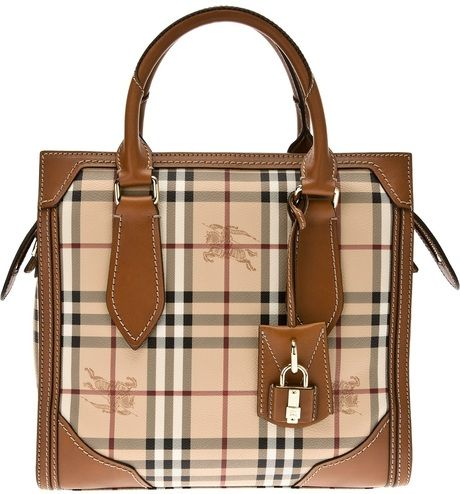 eeefc2ae44b3 BURBERRY Honeywood Checked Tote - Lyst (Burberry with a faint horse  pattern  I think yes!)