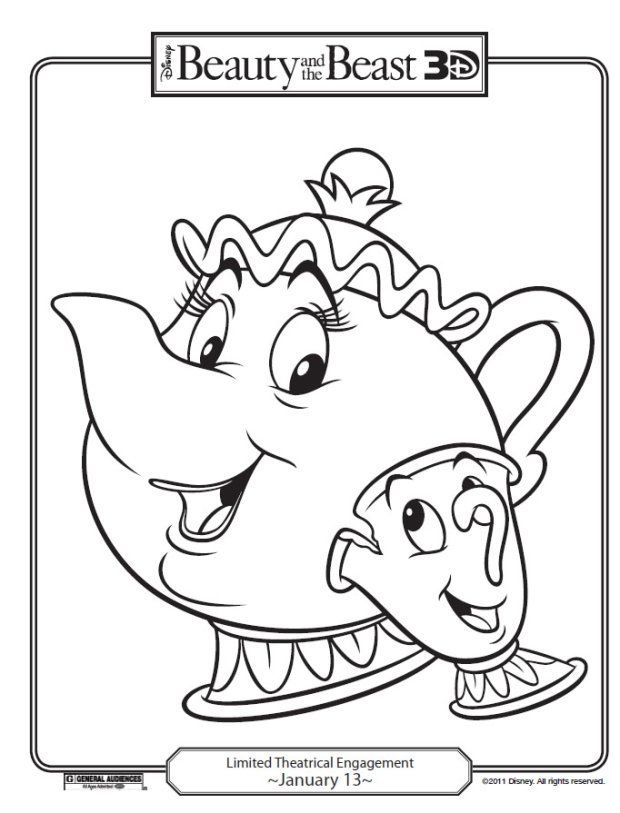 Free Beauty The Beast Disney Printables And Coloring Pages