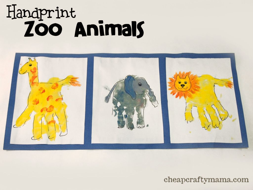 Animals crafts for preschoolers - Handprint Zoo Animals Pinned By Super Simple Songs Educational Resources For