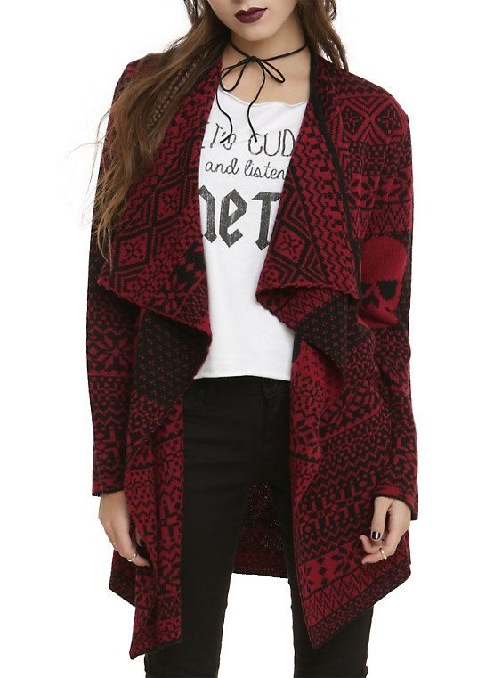 Iron Fist Black Red My Christmas Sweater Girls Flyaway Cardigan ...