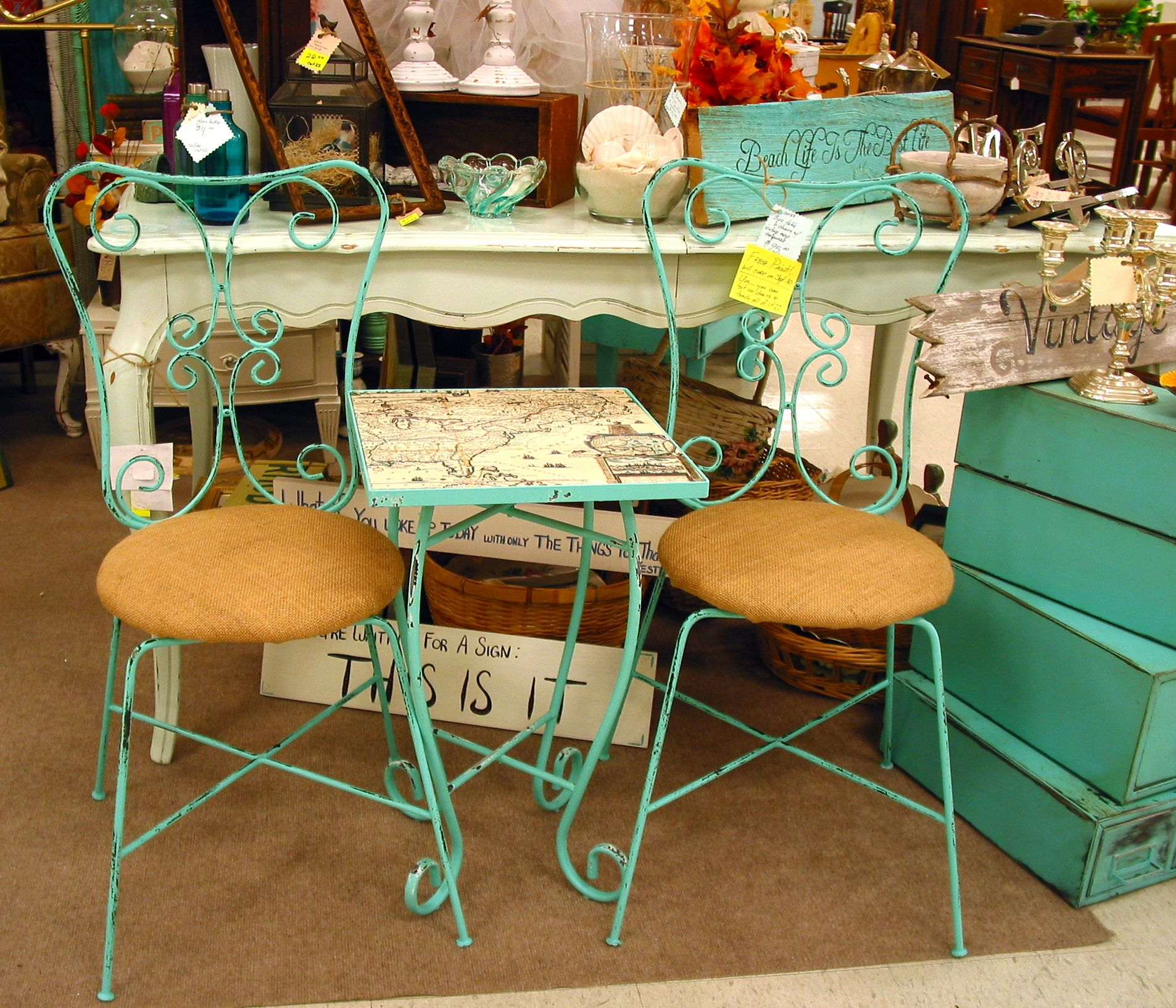 New Bistro Set In Turquoise Color, Shabby Chic, Painted Furniture Chairs  Table, Map