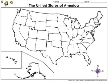 The United States Of America Map Blank Full Page King - Us map with state lines