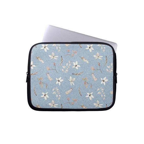 1cc9597aa328 denim blue Laptop Sleeve laptop case MacBook Case floral Laptop ...