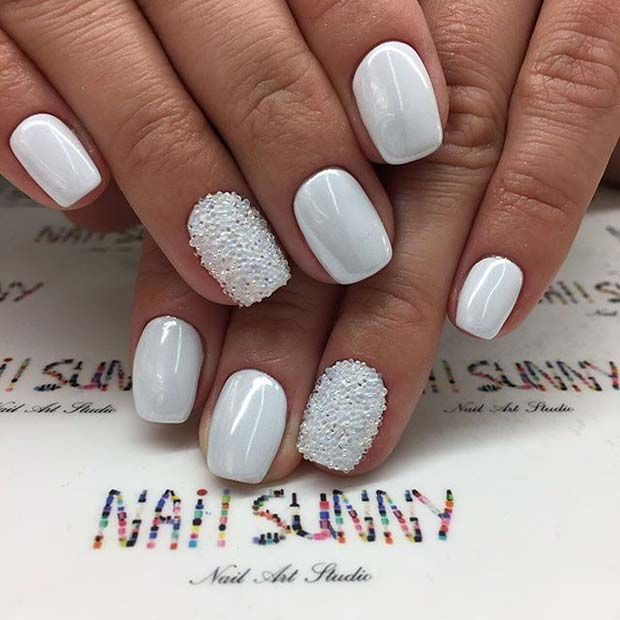 White Manicure With Sparkle For Elegant Nail Designs Short Nails
