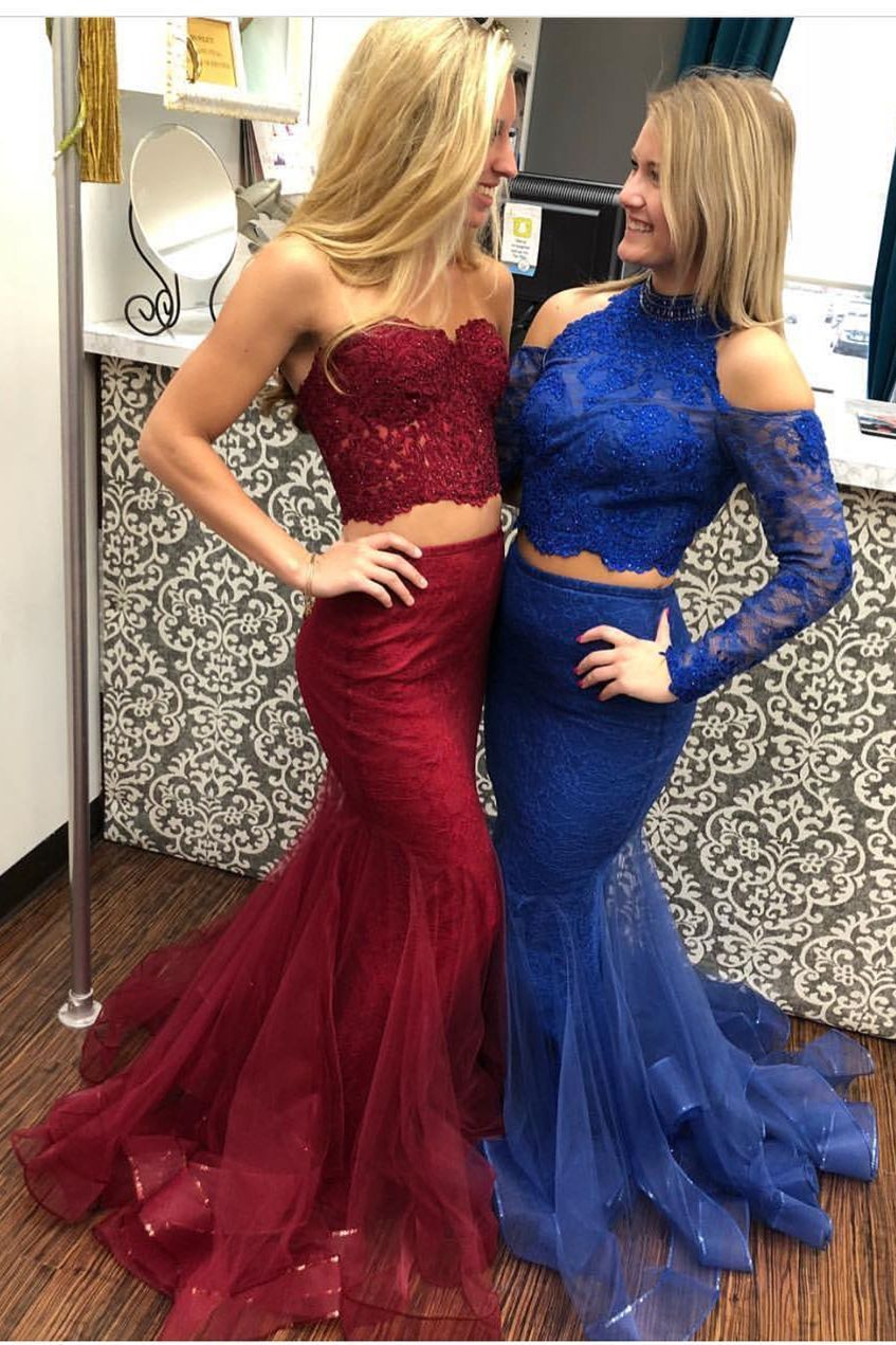 Two Piece Mermaid Sweetheart Sweep Train Burgundy Prom Dress with ...