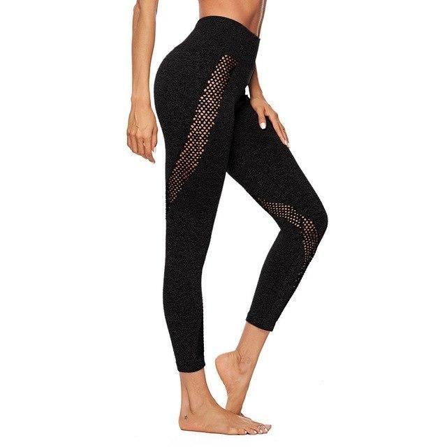 Women Fitness Leggings Push Up Hollow Leggings High Waist Workout Mesh Legging Casual Pants Black XL...