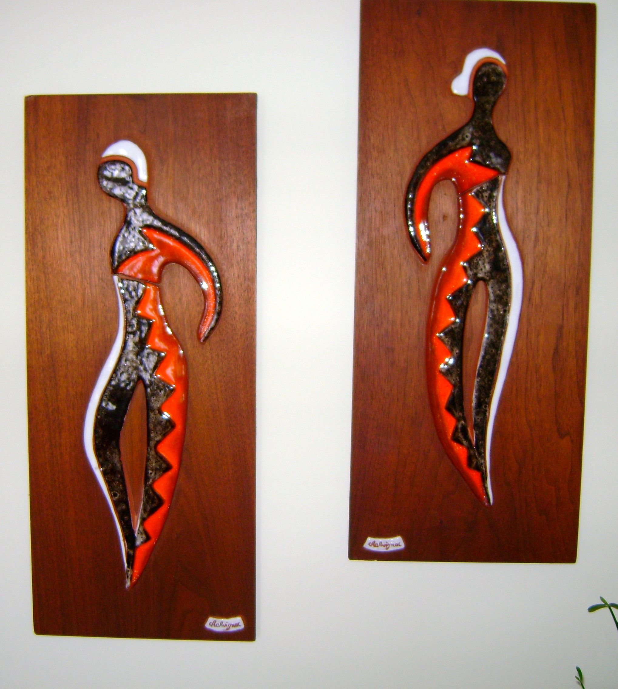 Pair of harlequin figure wall plaques of pieced ceramic tile on pair of harlequin figure wall plaques of pieced ceramic tile on wood dailygadgetfo Image collections