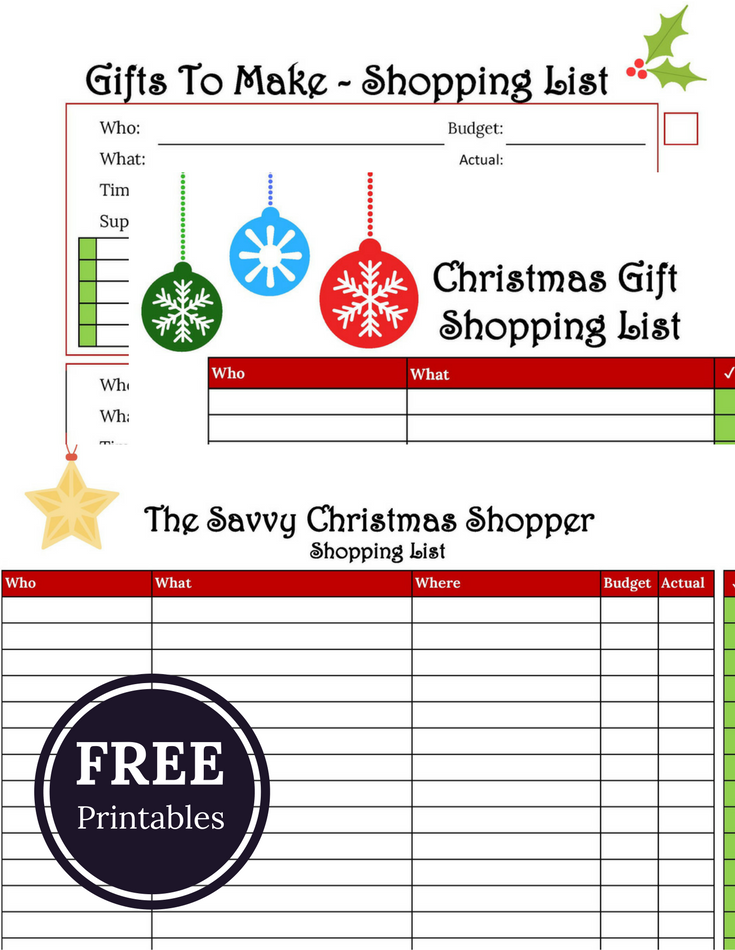 With only 5 ½ week lefts until Christmas, I'm hoping that many of you have already started your Christmas shopping. And if you're good at writing down gifts ideas, you may find yourself a bit like me with little lists everywhere! Here are three printables to help you get it all under control.