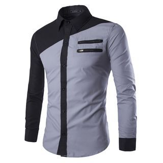 Buy Bay Go Mall Colour Block Zip Long-Sleeve Shirt at YesStyle.com! Quality  products at remarkable prices. FREE WORLDWIDE SHIPPING on orders over US   35. 3bca1b9e631