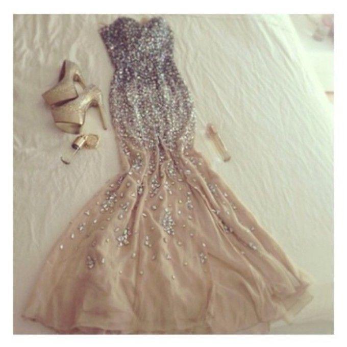 Dress Nude Silver Beige Sequin Dress Beautiful Prom Dress -5008