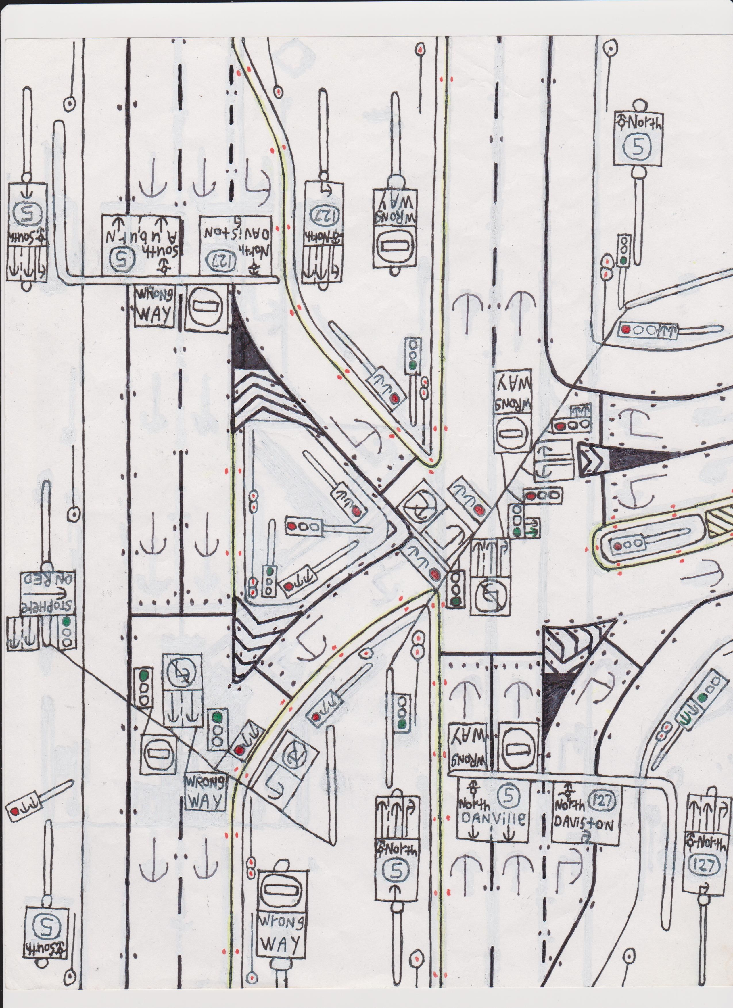 4-lane highway traffic light intersection. | Road Drawings Stuff ...