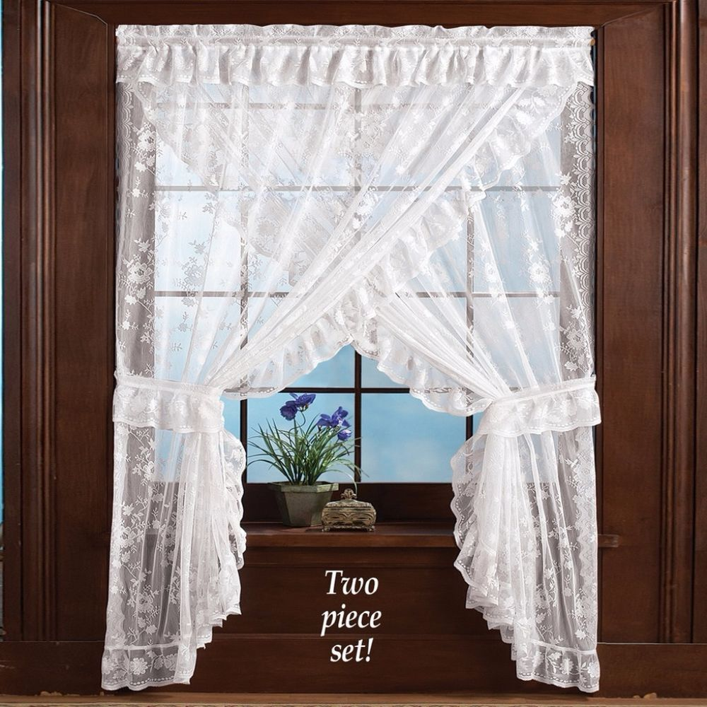White Lace Priscilla Ruffle Curtain With Tiebacks And Attached