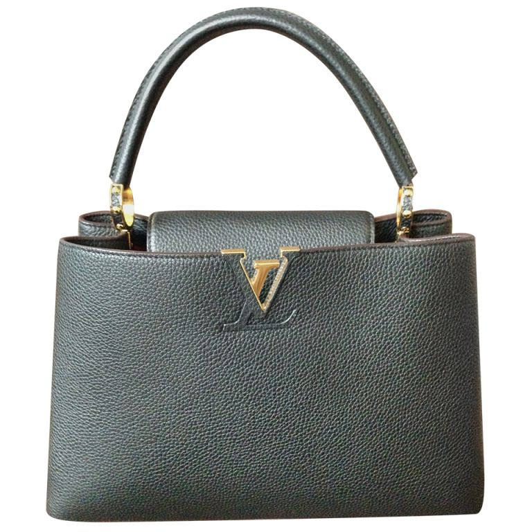 6578b4f57159 Louis Vuitton Capucine MM Black and gold hardware