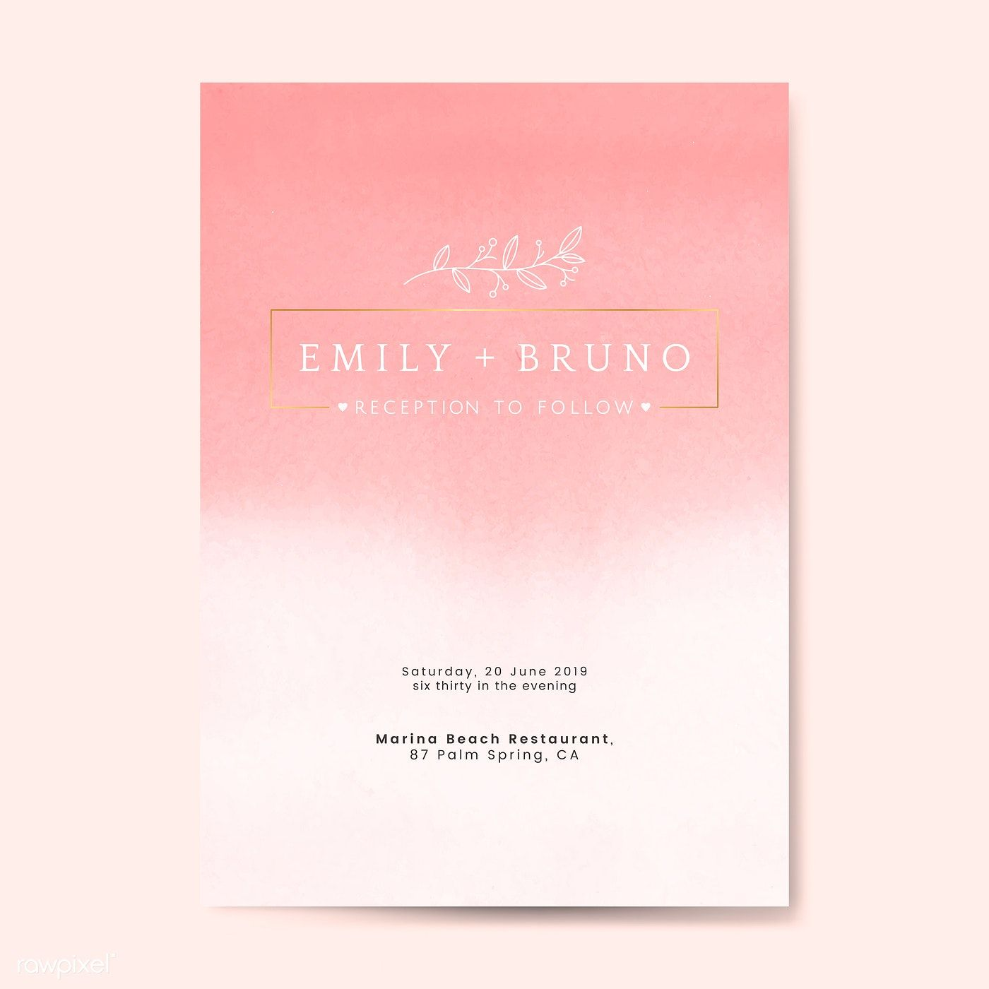 Pink Wedding Invitation Card Vector Free Image By Rawpixel Com