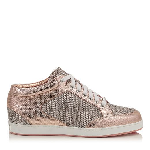 0732ebee336 JIMMY CHOO MIAMI Tea Rose Metallic Printed Leather and Glitter Low Top  Trainers.  jimmychoo  shoes  s