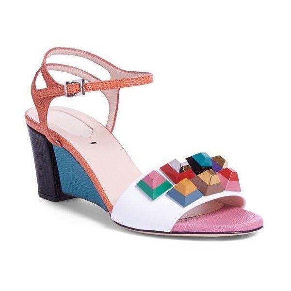 2ffafd9361ba Fendi  Rainbow  Colorblock Studded Sandal, 2 1 2