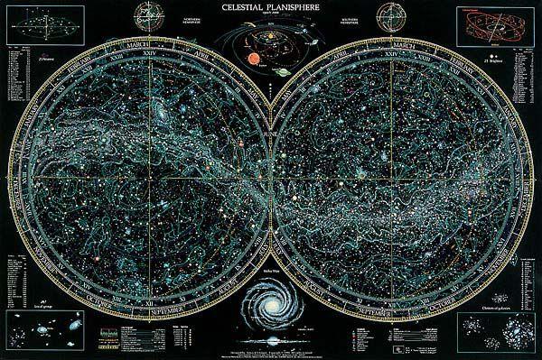 Celestial Planisphere by Thomas Filsinger -- star chart poster... i ...
