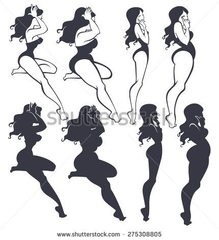 fat and slim pinup girls collection stock vector learn drawing