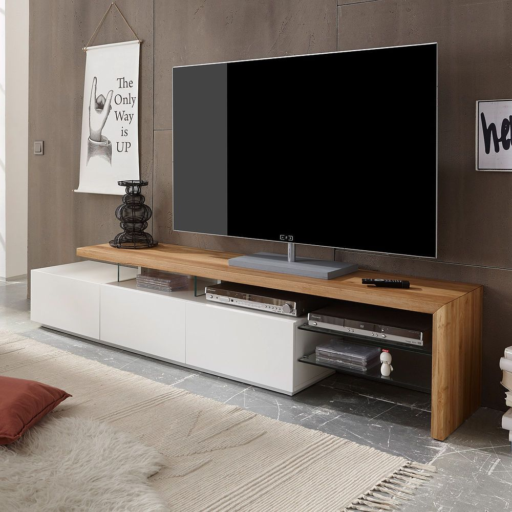 tv rack alimos tv board lowboard unterschrank wei matt lack eiche massiv m bel wohnen. Black Bedroom Furniture Sets. Home Design Ideas