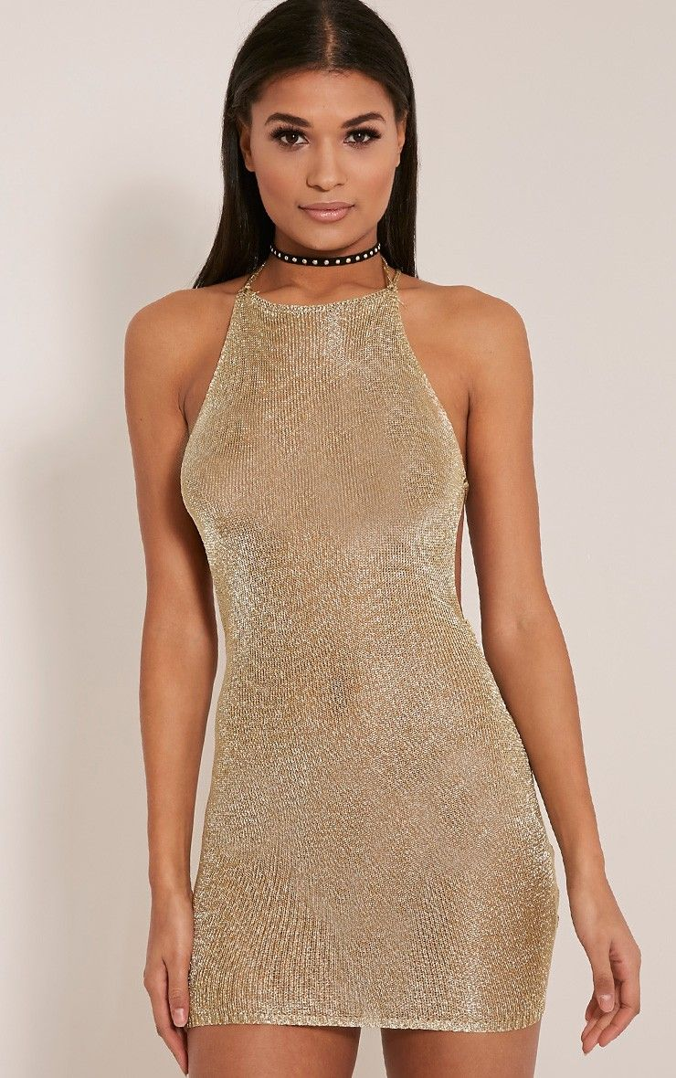 abbf5dca7e9 Charlay Gold Metallic Halterneck Mini Dress   WARDROBE✨   Metallic ...