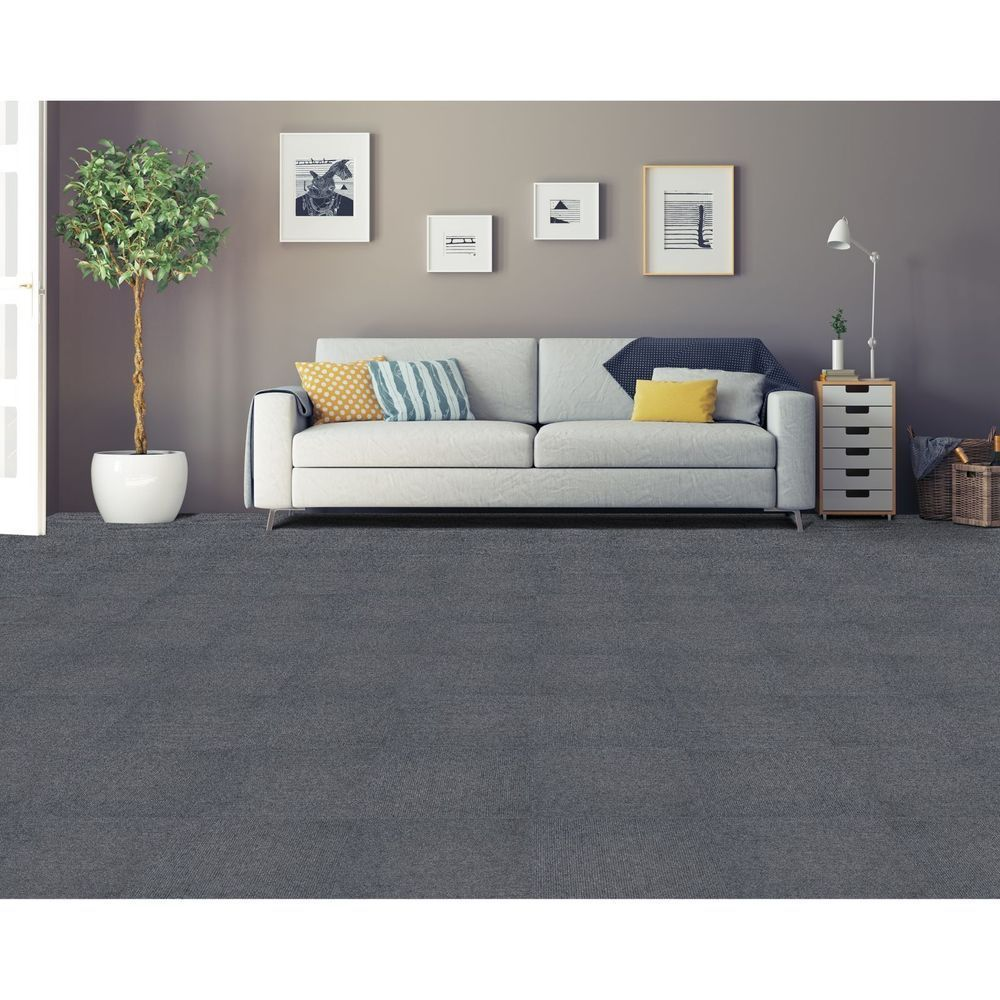 Achim Nexus Smoke Self Adhesive Carpet Floor Tile 12 Tiles 12x12 Grey Gray In 2020 Textured Carpet Carpet Tiles Living Room Carpet