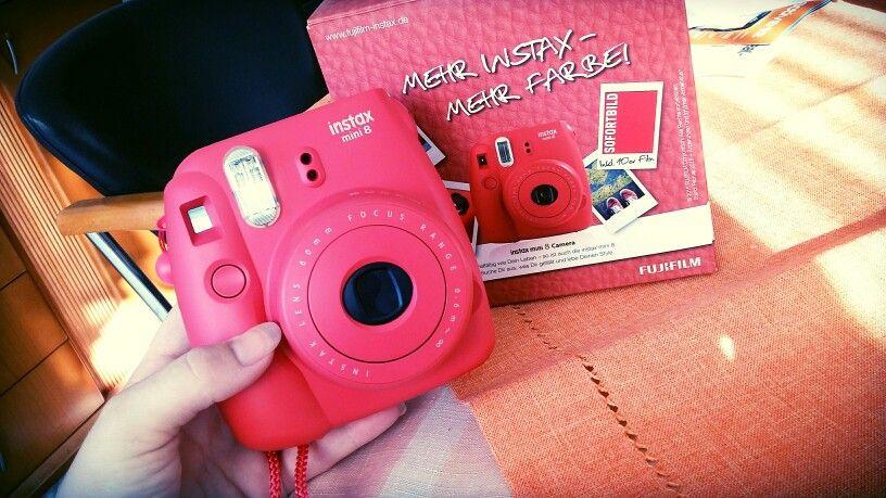 Fuji polaroid instax mini8 red pink kamera love Happy pic