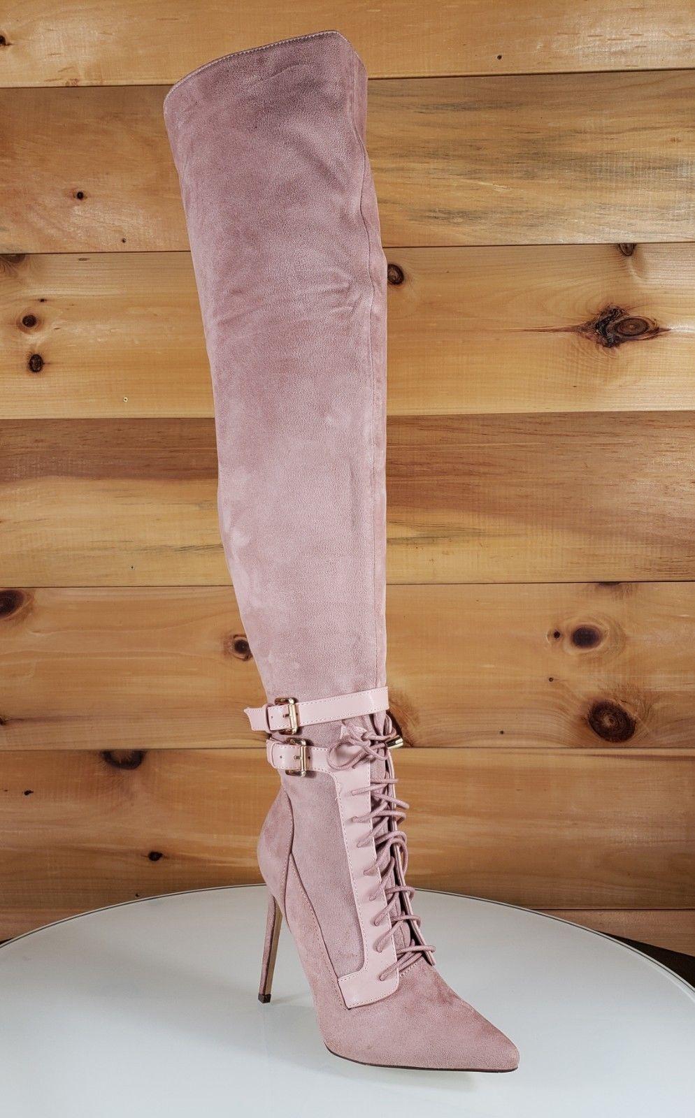 98cb19ddf068 So Me Ashanti Blush Pink Pointy Toe High Heel OTK Above Knee Boots ...