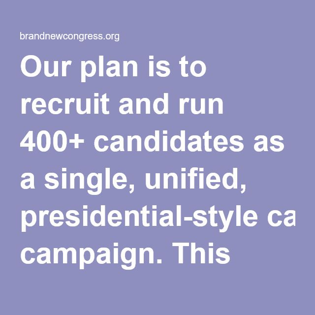 Our plan is to recruit and run 400+ candidates as a single, unified, presidential-style campaign. This allows us to:      Actually turn out millions…