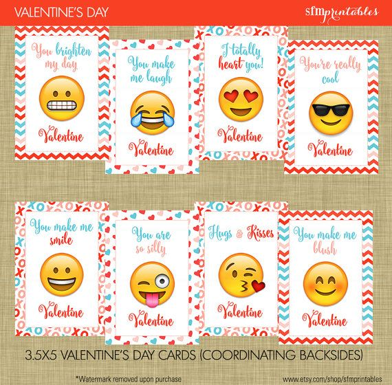 image regarding Printable Valentine Day Cards for Kids named Prompt Down load! Emoji Valentines Working day Playing cards - Little ones Higher education