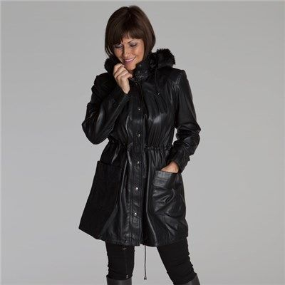 Buy Woodland Leather Ladies Drawstring Parka With Faux Fur Hood from  IdealWorld.tv 70aa48d9b4ce