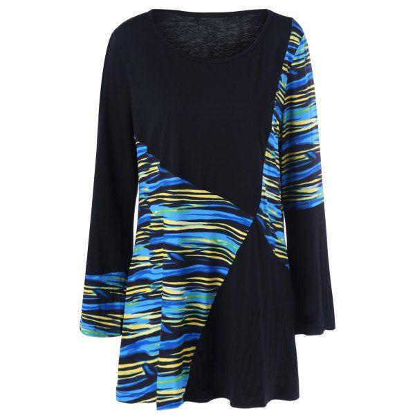 0c31ef8c51b Plus Size Striped Color Block T-Shirt