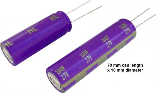 Panasonic offers 50 & 100F electric double layer capacitors