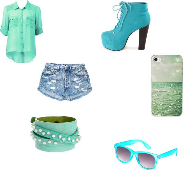 """""""The colors of the sea"""" by sophiasossai ❤ liked on Polyvore"""