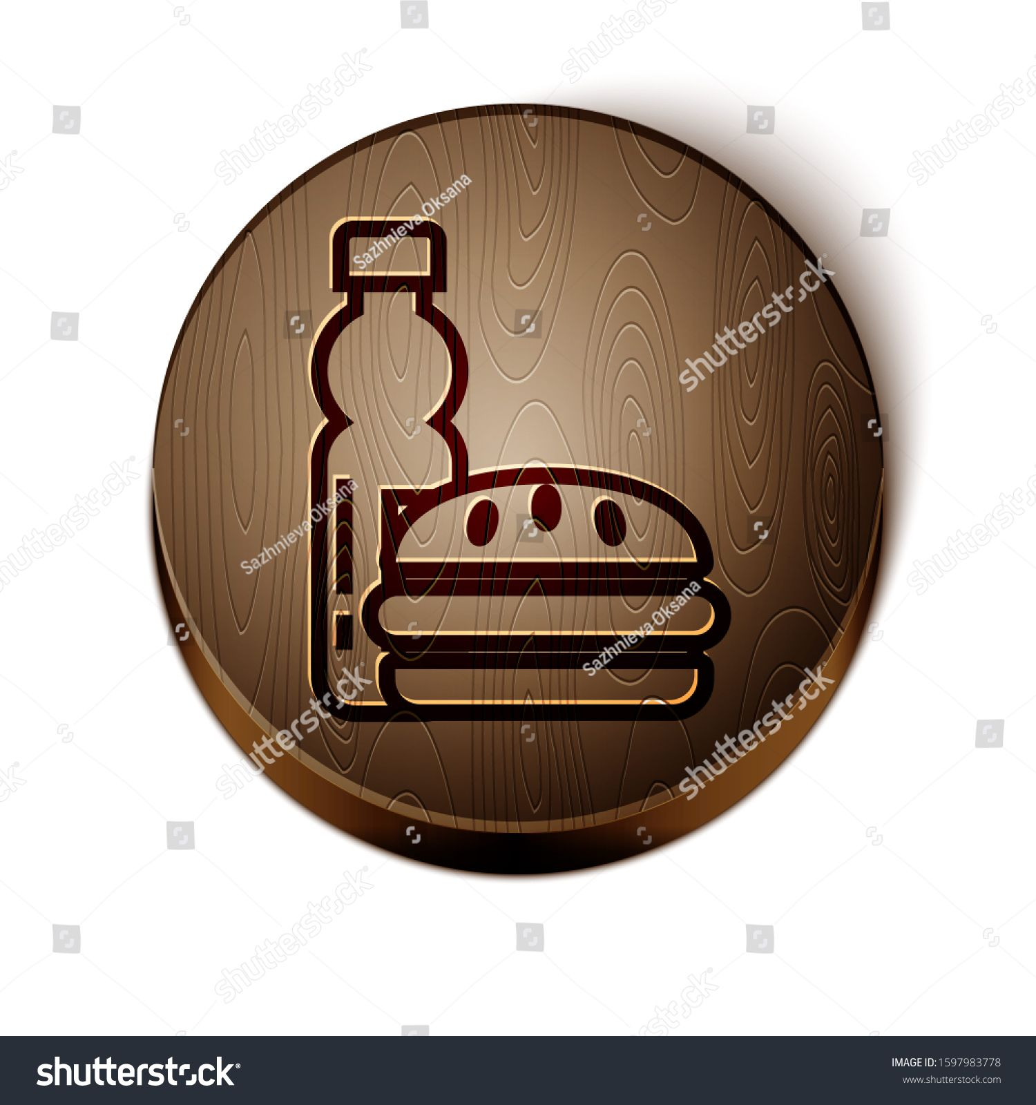 Brown line Bottle of water and burger icon isolated on