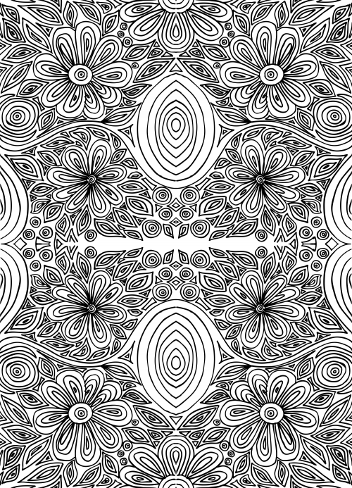 Doodle Coloring Page – Intricate Flowers 2 | Art therapy, Flower ...