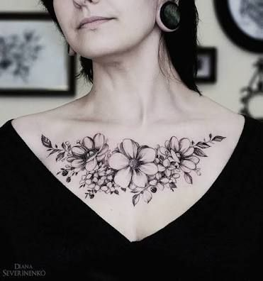 3f626235977e7 Image result for chest tattoos for women   Women chest tattoos ...