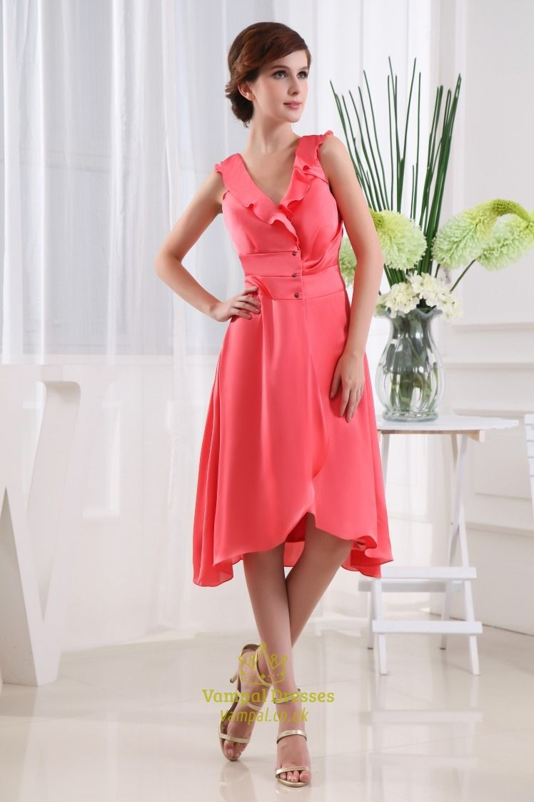 coral-high-low-homecoming-dress-tea-length-bridesmaid-dresses ...