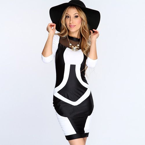 10cc9aba6c Sexy Contrast Color Slim Fit Package Hip Tight Dress