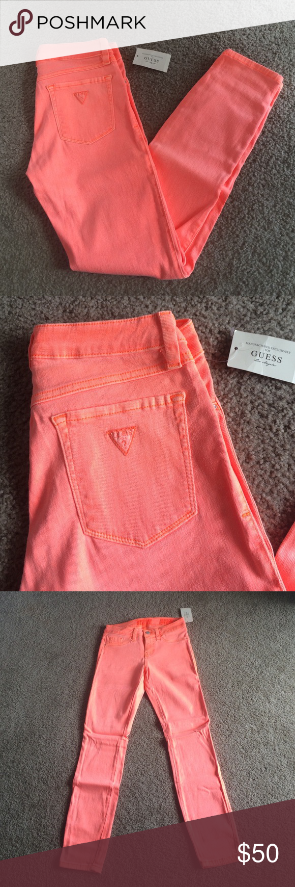 Neon Orange Guess Skinny Jeans Super fun neon orange Guess skinny jeans. Brittney style, ankle length. These are a true neon orange and appear slightly brighter than the photos. New with tags. Smoke free home. Guess Jeans Skinny
