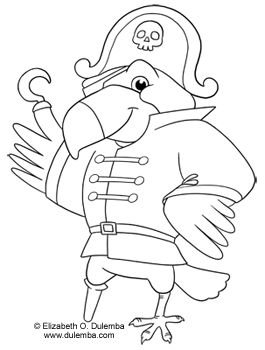 dulemba coloring page tuesday pirate parrot