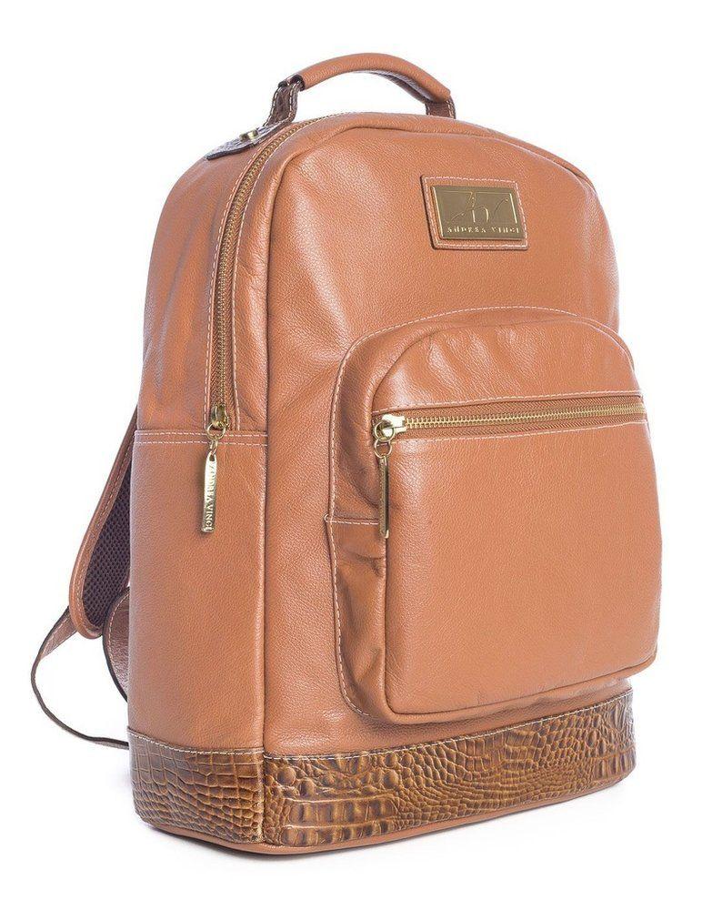Mochila feminina de couro legítimo Andrea Vinci caramelo - Enluaze Loja  Virtual   Bolsas, mochilas e pastas 48b4029bc3