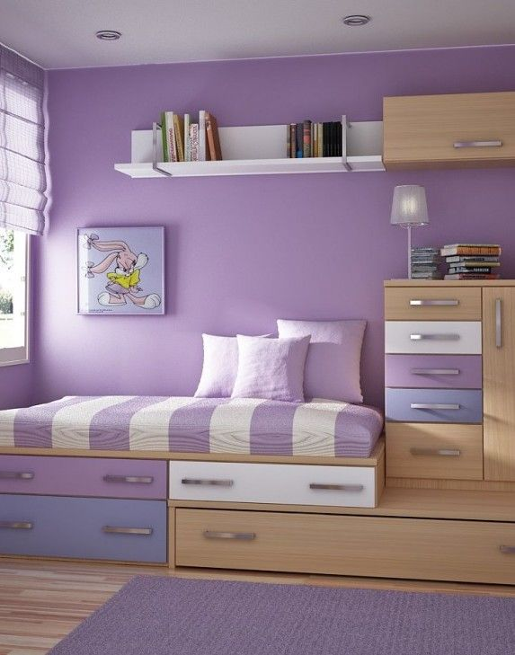 Bedroom Trundle Bed And Space Saving Bedroom Furniture Soft Purple - Painted childrens bedroom furniture