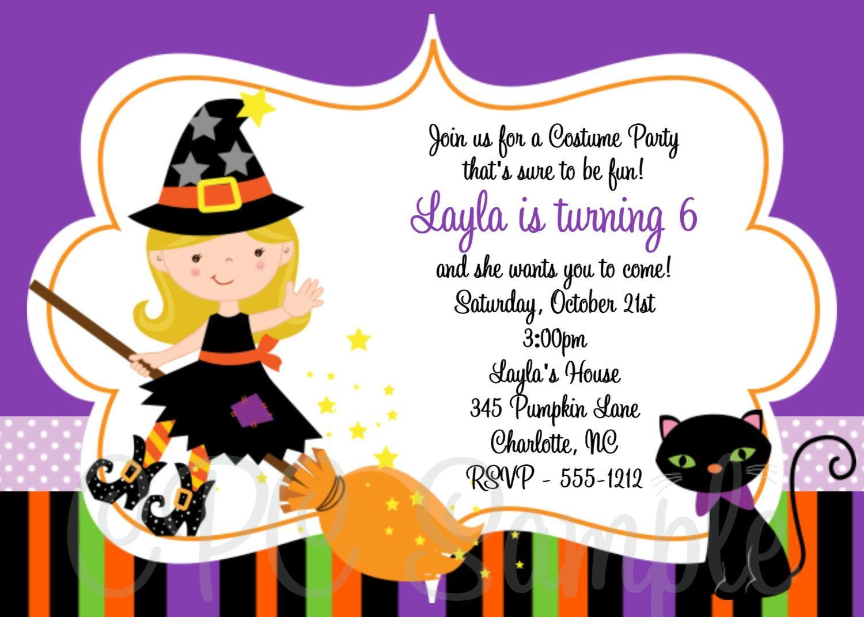 Witch Birthday Invitation Halloween Birthday Invitation Printable ...