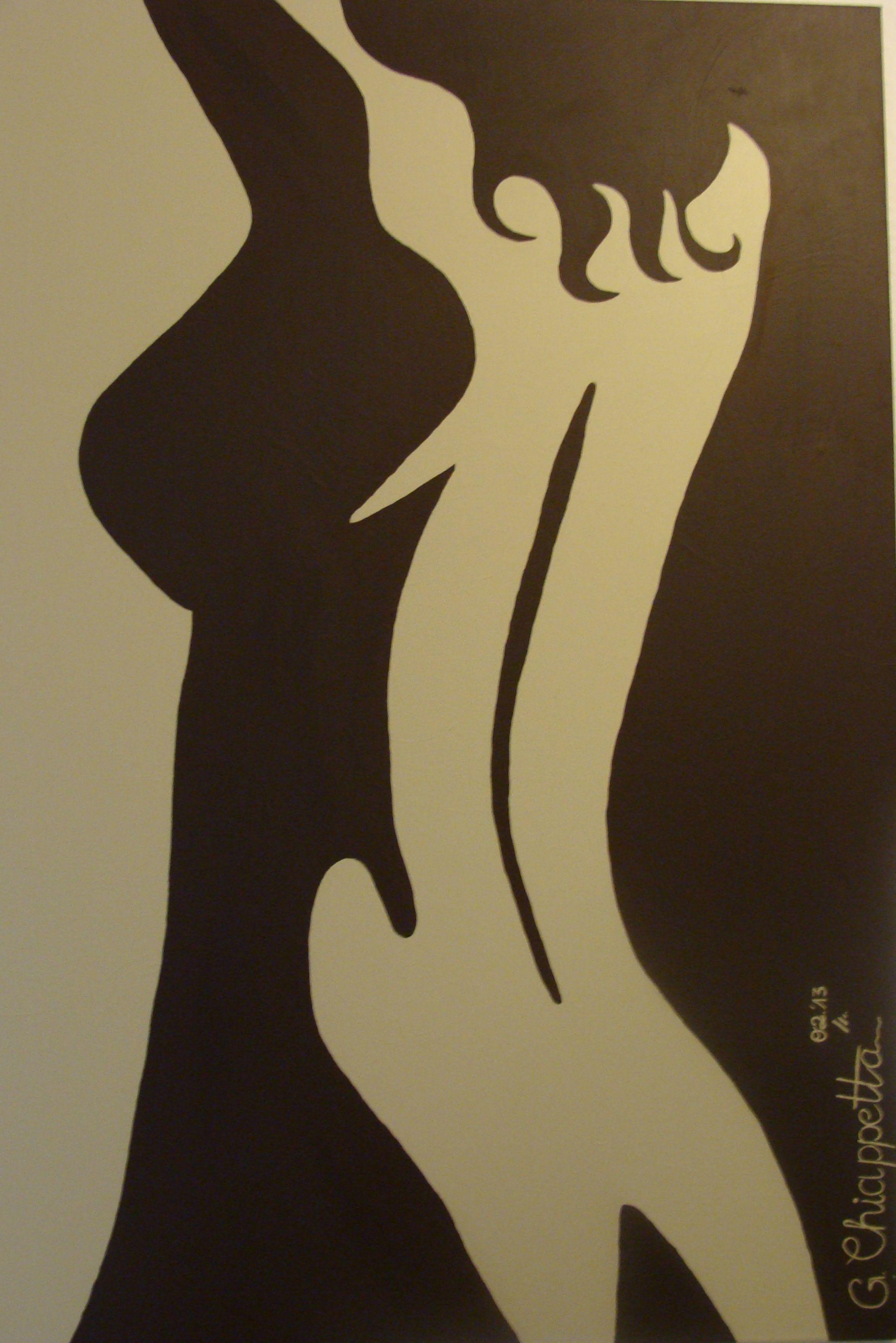 Acryl Leinwand weibliche Silhouette (Februar 2013)